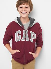 Cozy logo fleece zip hoodie