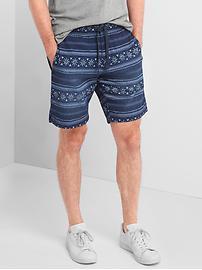 """Denim batik print shorts (9"""")"""