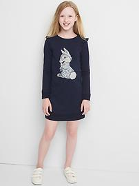 GapKids &#124 Disney sequin graphic ruffle sweatshirt dress