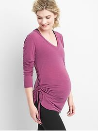 Maternity Breathe side-cinch V-neck tee
