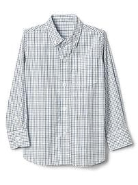 Poplin check button-down shirt