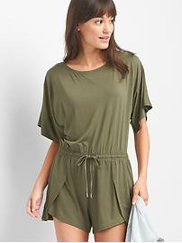 Short sleeve boatneck romper