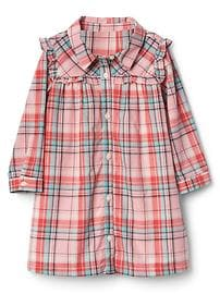 Plaid ruffle bib shirtdress