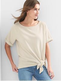 Short sleeve tie-front sweatshirt
