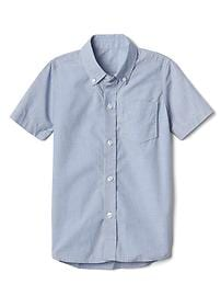 Poplin uniform short sleeve button-down shirt