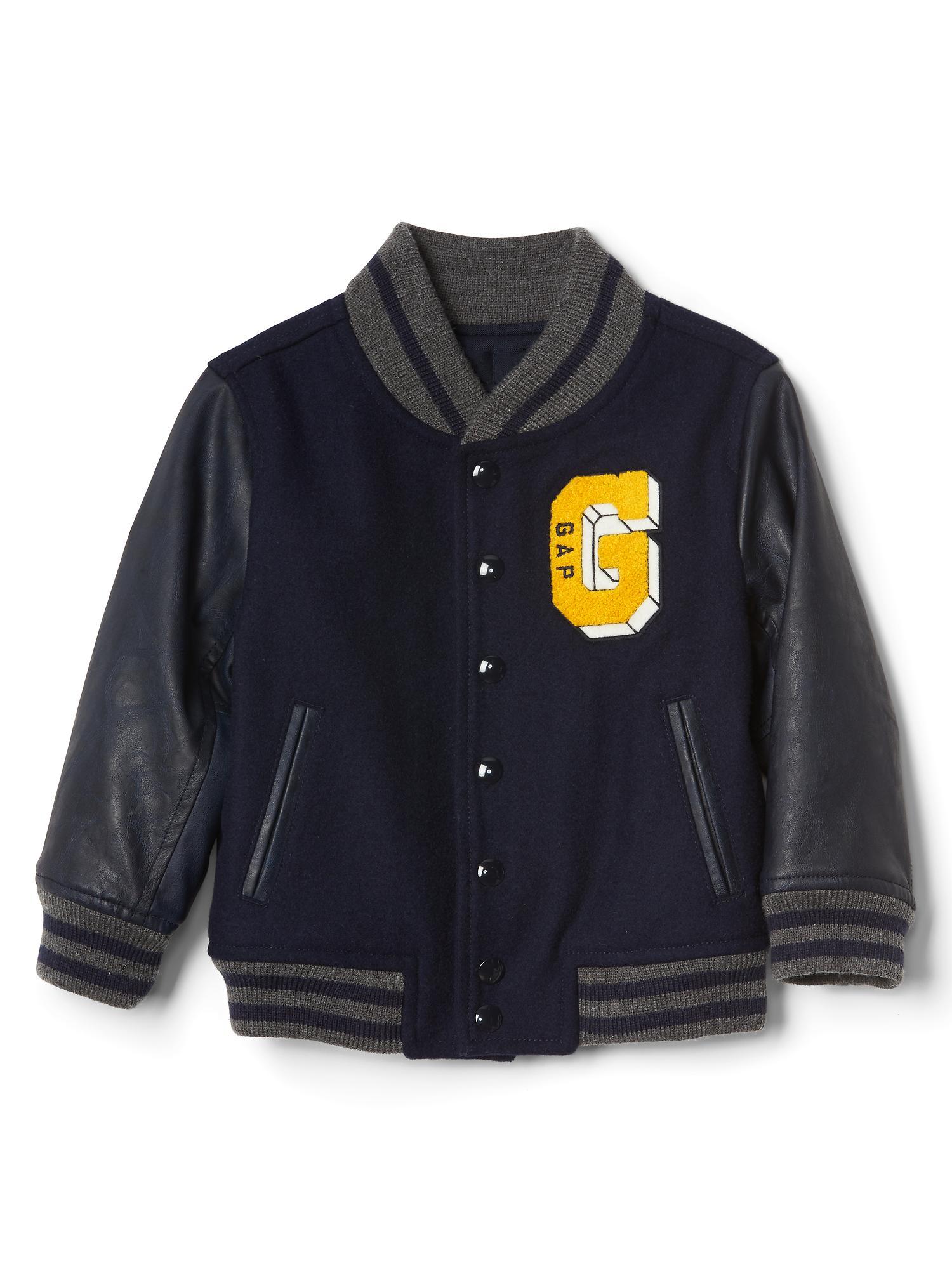 c3e1f1c7557d Faux leather varsity jacket