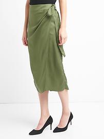 TENCEL&#153 wrap-belt midi skirt