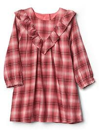Plaid long sleeve ruffle dress