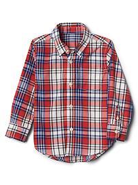 Plaid poplin button-down shirt