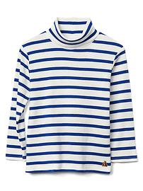 Stripe turtleneck slub tee