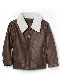 Sherpa faux leather flight jacket
