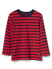 Stripe long sleeve pocket tee