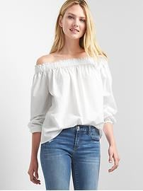 Poplin off-shoulder top