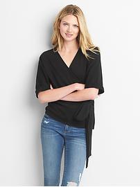 Short sleeve wrap sweatshirt