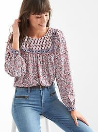 Mix-print paisley top
