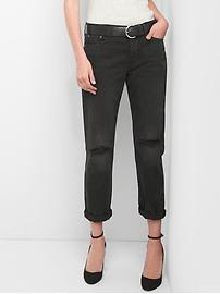 Mid Rise Relaxed Boyfriend Jeans with Destruction