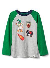 T-shirt de baseball en fil flammé à motifs appliqués