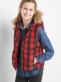 Warmest down plaid puffer vest
