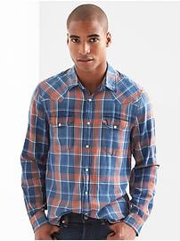 Denim Plaid Slim Fit Western Shirt