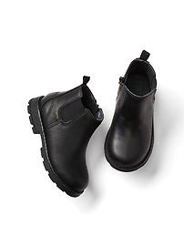 Faux leather chelsea booties