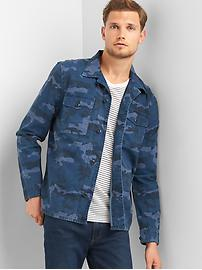 Camo fatigue shirt jacket
