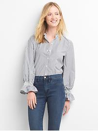 Poplin smock-sleeve ruffle shirt