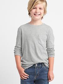 T-shirt ras du cou en fil flammé à poche