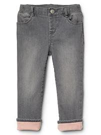 Stretch jersey-lined straight jeans