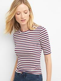 Stripe modal elbow-sleeve crewneck