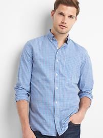 True wash poplin tattersall slim fit shirt