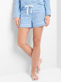 Stripe poplin sleep shorts