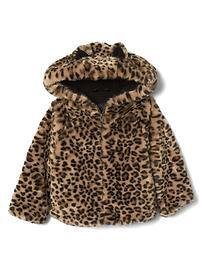Cheetah faux-fur jacket