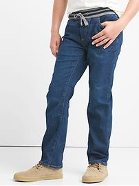 Stretch pull-on straight jeans