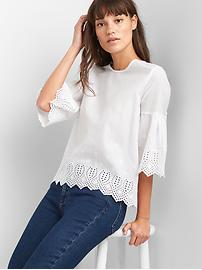 Bell sleeve eyelet top