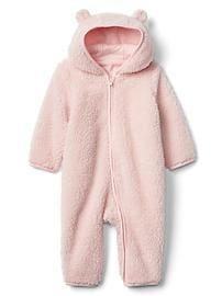 Cozy bear zip one-piece