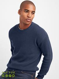 Shaker stitch crewneck sweater