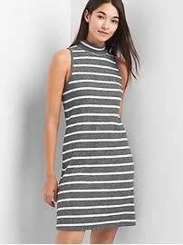 Softspun stripe sleeveless mockneck dress