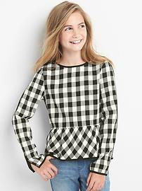 Buffalo plaid peplum top