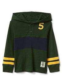 Varsity slub henley hoodie
