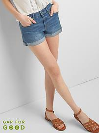 "Mid Rise 3"" Denim Shorts with Rolled Hem"