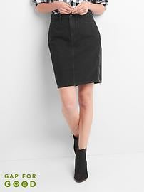 Side-zip denim pencil skirt