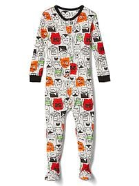Halloween monsters footed sleep one-piece