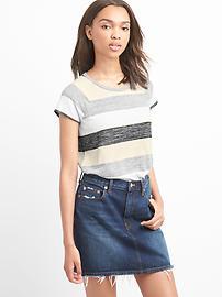T-shirt rayé à mancherons en tricot doux
