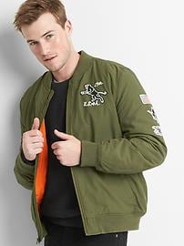 Graphic patch bomber jacket