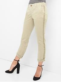 Studded girlfriend chinos