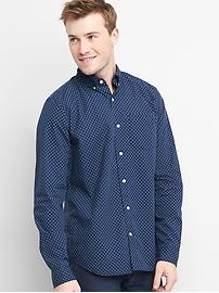 True wash poplin print standard fit shirt
