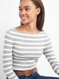 Stripe long sleeve modern boatneck