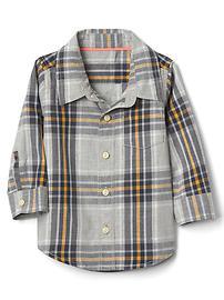 Plaid poplin pocket shirt