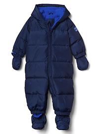 Down starry puffer snowsuit