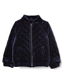 Quilted velvet flight jacket